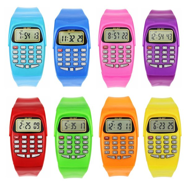 Classic Digital Calculator Watch Silicone Date Multipurpose Fashion Child Electronic Watch Holiday Gift Colorful Wristband
