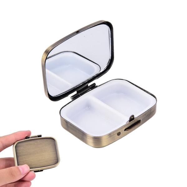 1pcs Pill Cases Metal Rectangle 2 Grid Moistureproof Medicine Holder Pill Storage Box Bronze 56*44*15mm Pill Boxes