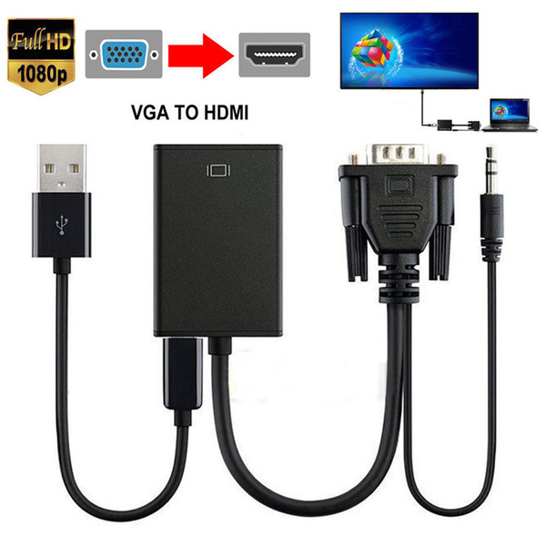 VGA Male To HDMI Output 1080P HD + Audio TV AV HDTV Video Cable Converter Adapter