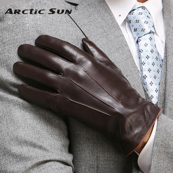 Top Quality Genuine Leather Gloves For Men Thermal Winter Touch Screen Sheepskin Glove Fashion Slim Wrist Driving EM011 D18110705