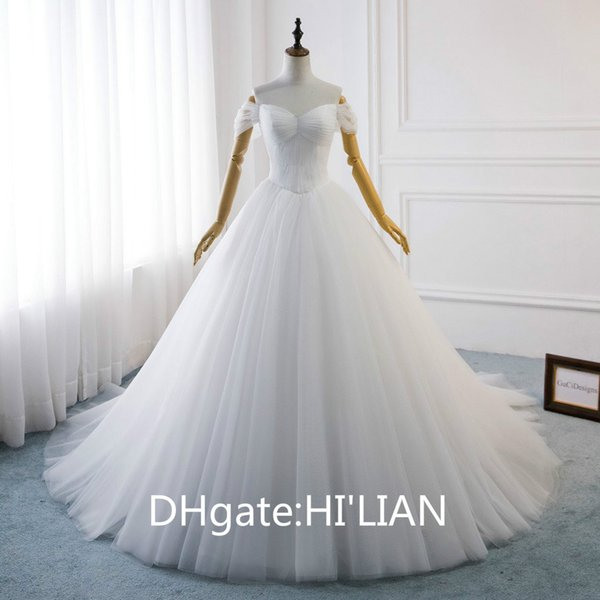 Aline Wedding Dress Elegant Simple White Bridal Gown Ball Gown Sexy Sweetheart Off Shoulder Beach Wedding Gown with Long Train Custom Made