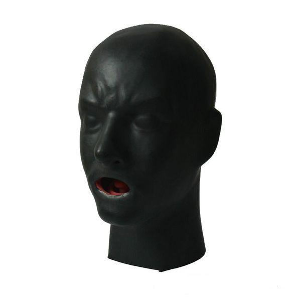Nouvelle Arrivée Chaude 3D Latex Masque Humain Capot Fermé Yeux Fétiche Capuche Rouge Bouche Gaine Langue Nez Tube