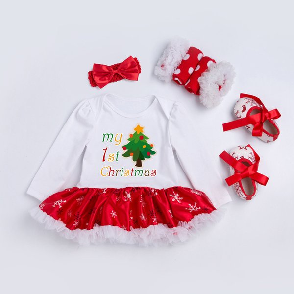 Christmas Snowflake Creeper Set Cotton Long Sleeve 0-2 Years Baby Boy Dress Baby Toddler Shoes One Piece Set 4 Piece Set