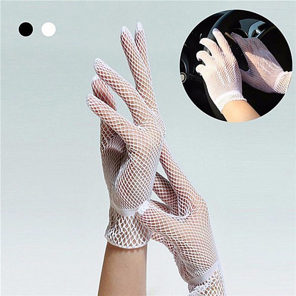 1 Pair Women Summer Nylon White Gloves Mesh Fishnet Gloves Sunscreen UV Protection Dance Party
