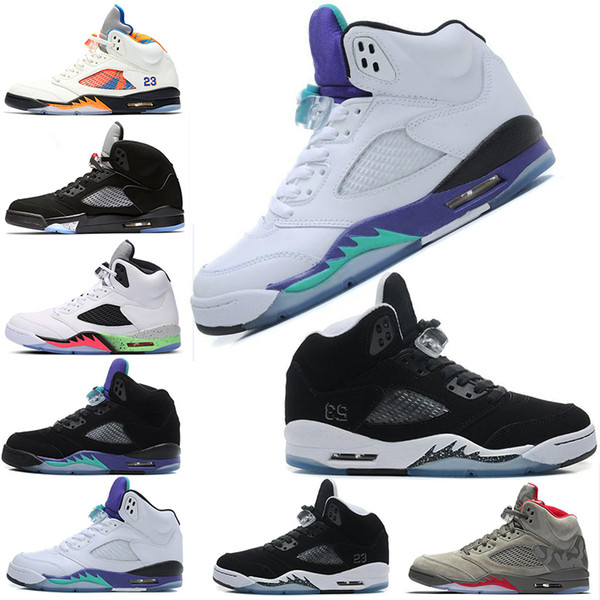 5s Black White Grape Oreo OFF Basketball Shoes V Olympic Metallic Sliver Gold OG Black Metallic Breathable comfortable Sports shoes trainers