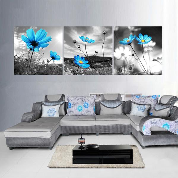 3 Peça Hd Impressão Da Lona Moderna Schilderij Flores Pinturas A Óleo Pintura Arte Da Parede Quarto Cuadros Decoração Imagem Sem Moldura