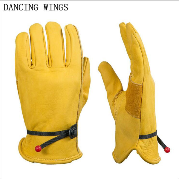 8f3e5f393609c Genuine Leather Gloves Men Women Cowhide Leather Work Gloves Non-slip