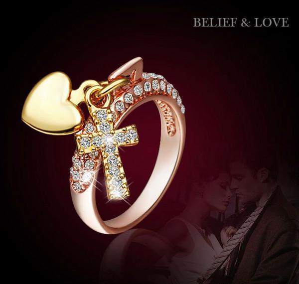 Anneaux de coeur pour les femmes Or Rose Rempli Bandes Chine Gros 18K Or Diamant Bagues de Fiançailles De Mode Bijoux Croix Diamant Anneaux