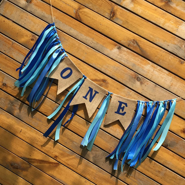 Boys and Girls One Year Silk Ribbon Chair Burlap Flag Set One Birthday Party Decoration Bunting Blue/Pink Banners