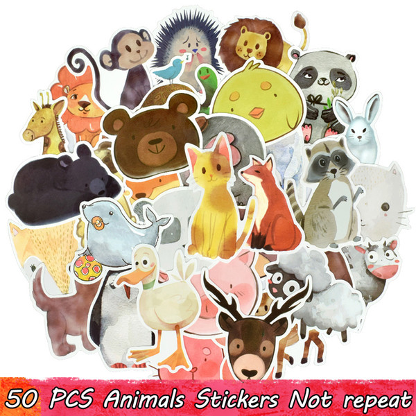50 PCS Cute Animal Stickers Toys for Kids Teens Watercolor Decals for DIY Laptop Tablet Luggage Snowboard Skateboard Guitar Water Bottle Car