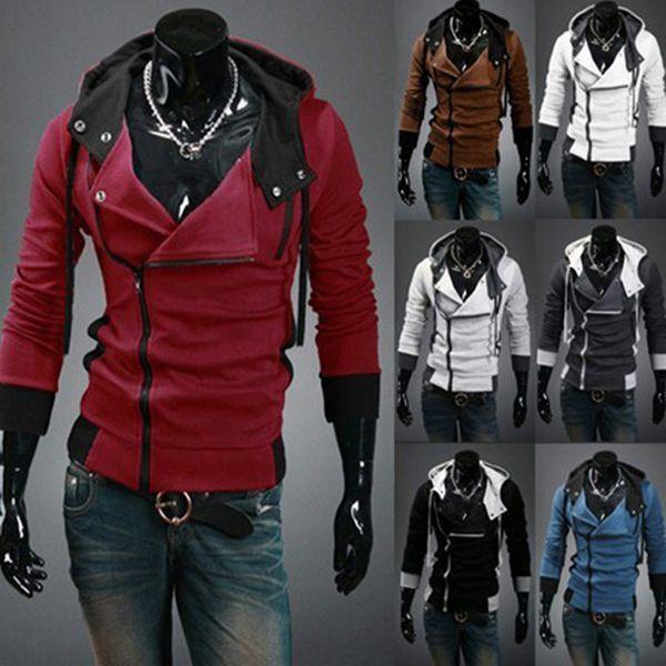 All'ingrosso-M-6XL Mens Mens Assassins Creed 3 Desmond Miglia Costume Hoodie Cosplay Coat Jacket 12 colori Spedizione gratuita