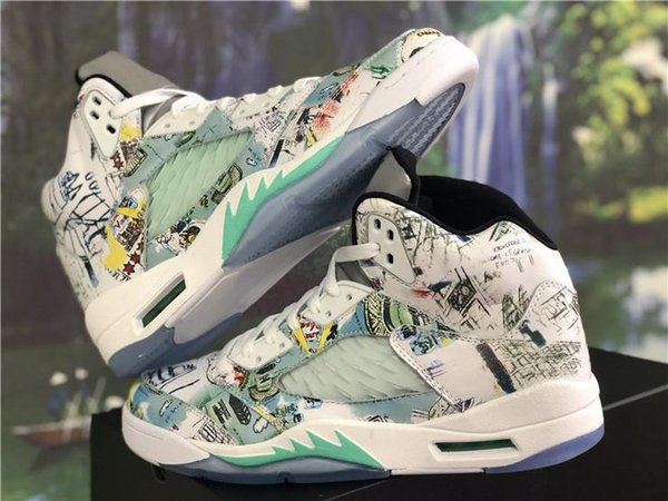 736da0735 Authentic 2018 New Release 5 Wings 3M Glows In The Dark Basketball Shoes  Leather Green White