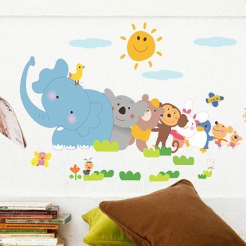 Diy Elephant Monkey Animal Zoo For Kids Baby Room Wall Sticker Paper Decor Decal The Latest Fashion Wall Stickers Home & Garden