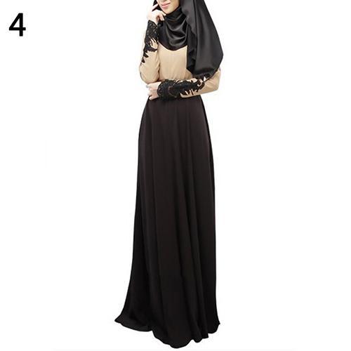 Mulheres Abaya Alcorão Muçulmano Kaftan Hijab Burqa Lace manga comprida vestido maxi islâmico