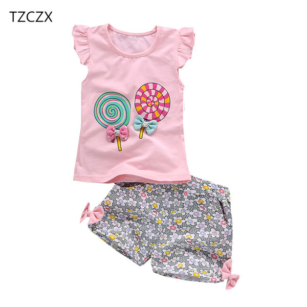 TZCZX New Summer Children Baby Girls Sets Fashion Cartoon Printed Suit For 6 Month to 3 Years Old Kids Wear Clothes