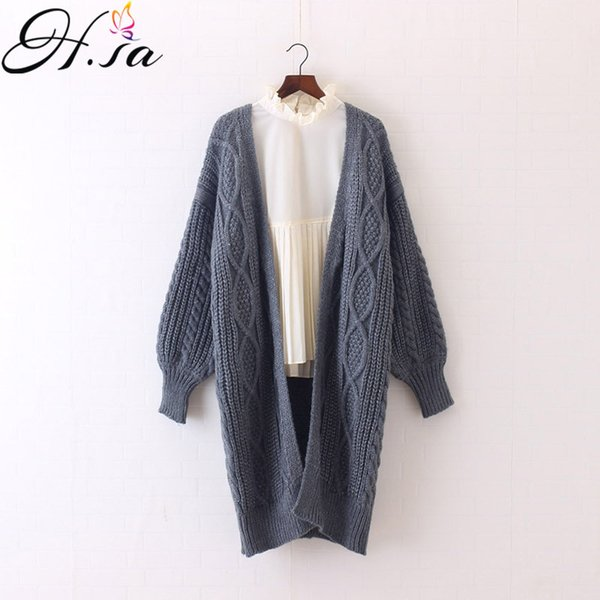 H.SA Winter Autumn Long Female Cardigans Latern Sleeve Casual Knitted Poncho Sweaters Oversized Long Cardigans Korean sueter S118