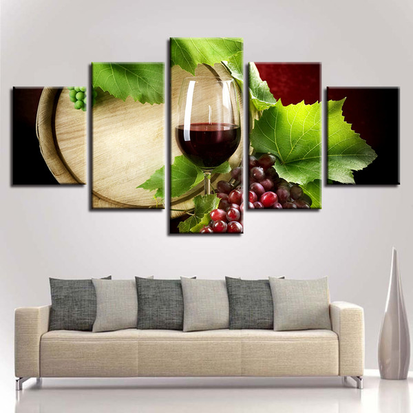 Wall Art HD Prints Canvas Paintings Modular 5 Pieces Red Wine Glass Pictures Grape Leaves Oak Barrel Poster Framework Home Decor