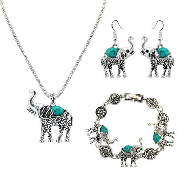 Schmuckset 3 Stück Schmuckset Elefant Mode Silber Kreative Halskette Set Retro Imitation Türkis Schmuck