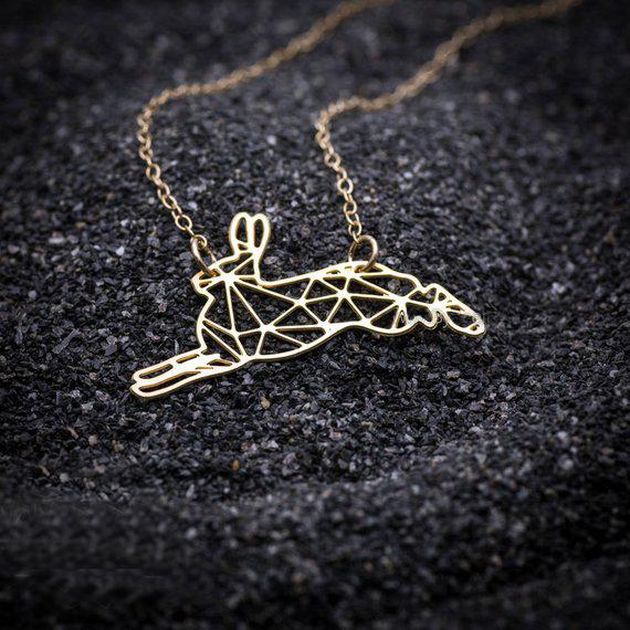 2018 Fashion Bunny Charm Rabbit Geometric Origami Necklace Stainless Steel Animal Jewelry Gift For Women YP6412