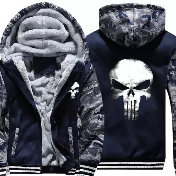 Модный бренд супер теплые мужские толстовки кофты сгущает руно камуфляж мужские куртки молния с капюшоном черепа пальто одежда