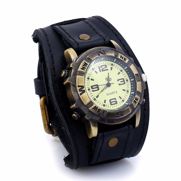 New Black Mens Digital Watches Relogio Vintage Genuine Leather Wrist Watch Male Horloges Mannen Alloy Watch Hiphop Relogio Sanda