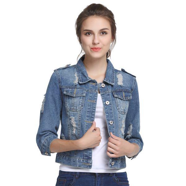 1dfe54370c Plus Size 5XL 6XL Oversize Denim Jacket Women Spring Slim Cotton Light  Washed Long Sleeve Jeans Jacket Coats