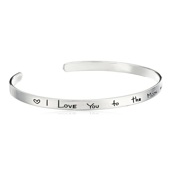 Fashion Stainless Steel I love You To The Moon Count Your Rainbows Not Your Thunderstorms Minimalist Opening Bracelets Bangle for Women