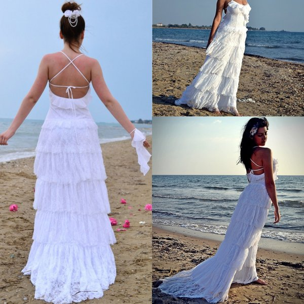 Gorgeous 2018 Beach Wedding Dresses With Cross Back Long Sweep Train Boho Lace Bridal Gowns Cheap Free Shipping Custom Made