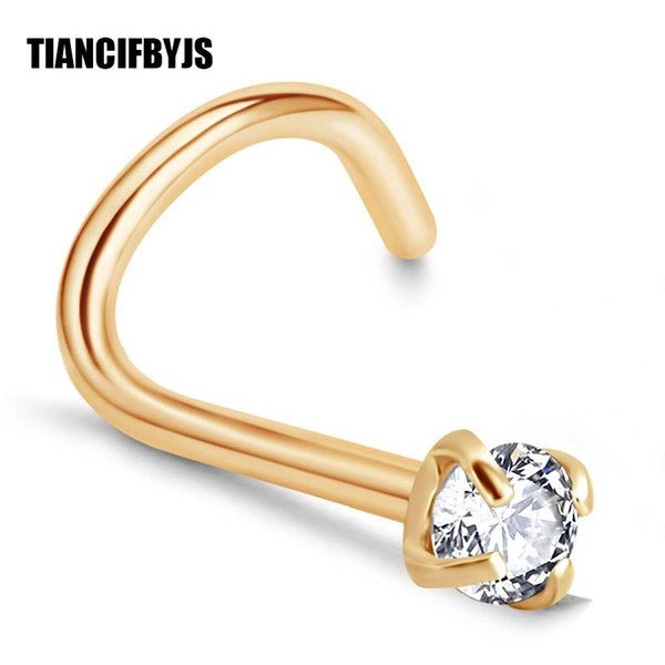 TIANCIFBYJS Silver Gold Nose Screw Stud 20G Stainless Steel Rings Bar Tragus Piercing Ombligo Body Jewellery for Women Men 80pcs