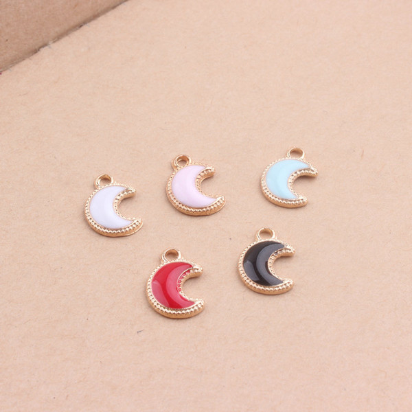 Mini Order 20pcs/Lot 8*11mm Little Moon Charms Gold Tone Plated Enamel Alloy Kawaii Jewelry findings Ornament Accessory Charms