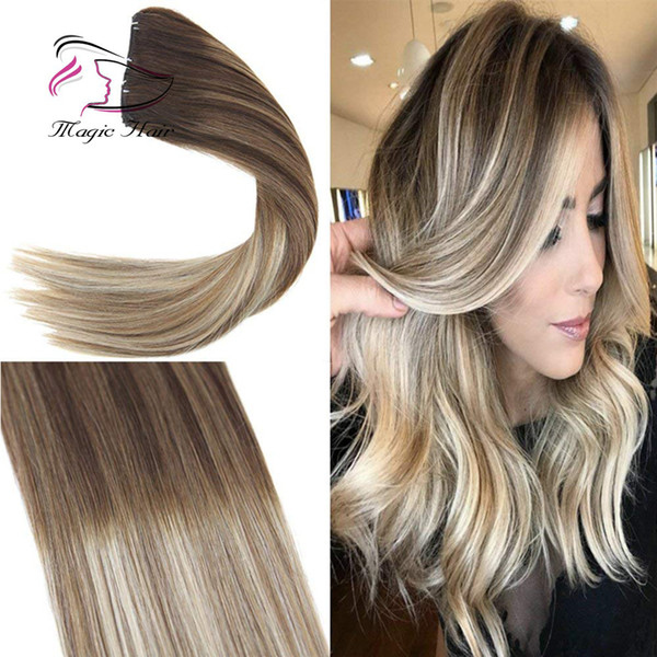 Clip in Hair Extension Human Hair Ombre #4 Dark Brown Mix #6 Medium Brown Fading to #22 Medium Blonde Full Head 7pcs/120g