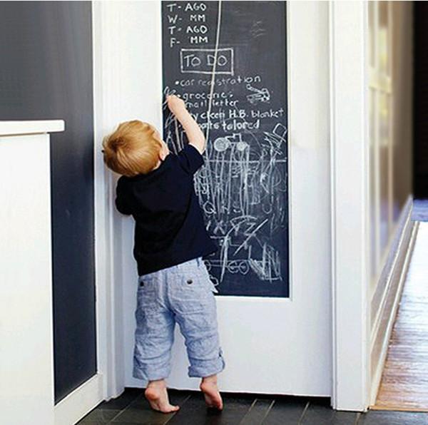 Pizarra Pegatinas de pared Pizarra Negro Pegatina de Tabla de Tiza 45x200cm Mini Pegatina portátil Peel Stick en papel de pared para niños Niños