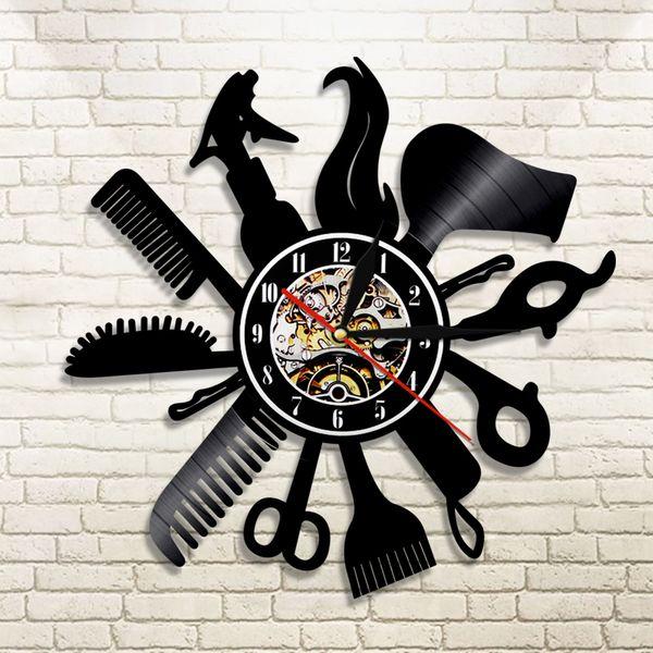 diy подарок для изменения часов 2018 парикмахерская виниловые записи настенные часы