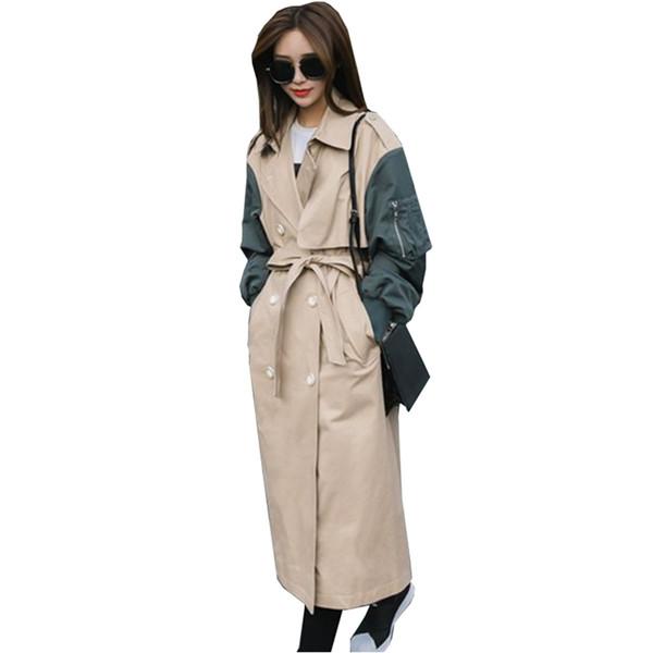 Осень пальто женщины 2018 новая мода с длинным рукавом свободные большой размер двубортный лоскутное ветровка женский NW708