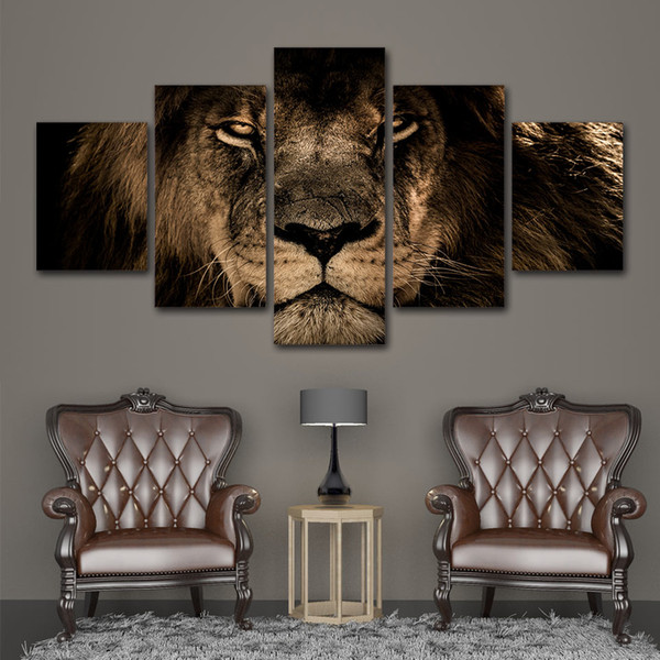 5 Pcs King Lion Animal Posters And Prints Home Decor Wall Art Picture Canvas Painting Cuadros Decocation No Frame