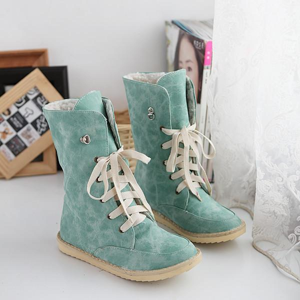 Plush Women Mid-Calf Boots Fur Snow Boots For Women Winter Shoes Lace Up Ladies Flat Boots ADF-7855