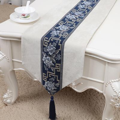 pivoine bleu blanc 150 x 33 cm