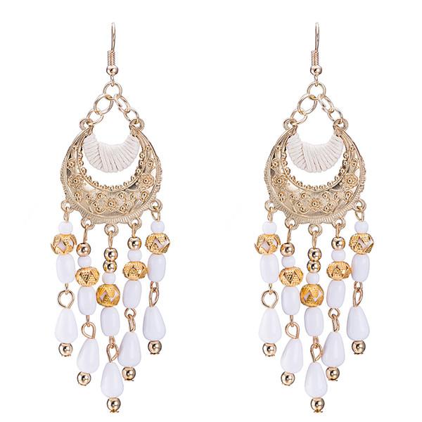 2018 NewTassel chandelier pendientes joyería de moda mujeres pendientes de bohemia chapado en oro cadenas borlas cuelgan largas aretes 8.5 * 2.9 cm