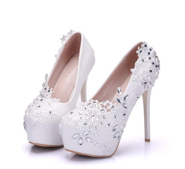 Fashion woman shoes red white Pearl Lace FLOWER 14cm High-heeled shoes Fine heel Waterproof Wedding shoes Large size 34-41