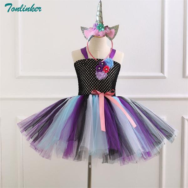 Girls Unicorn Tulle Black Tutu Dress With Unicorn Headband Horn Flower Hair Hoop Set for Kids Birthday Theme Party Cosplay New
