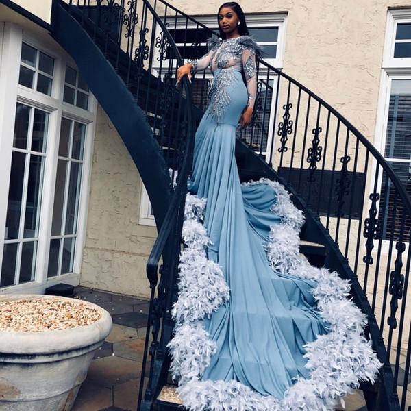 Muhteşem Tüy Tren Balo Elbise Jewel Boyun Boncuk Dantel Aplike Sheer Uzun Kollu Abiye Afrika Seksi Mermaid 2K18 Gelinlik Modelleri