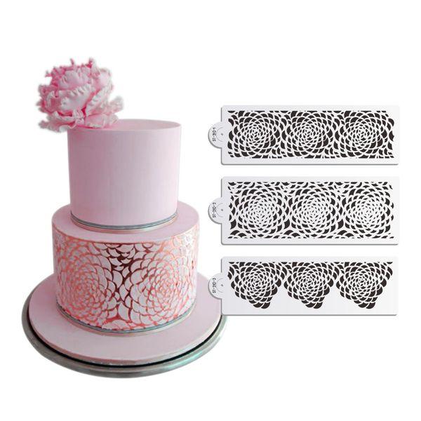 3 Teile / satz Rose Dekorieren Schablone für Hochzeitstorte Dekoration Airbrush Schablone Kuchen Kunststoff Vorlage Fondant Werkzeuge DIY Backformen
