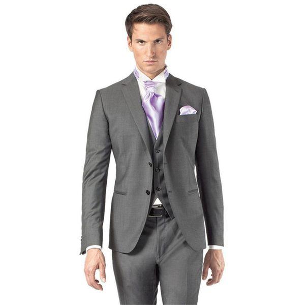 3 piezas de novio gris trajes de boda para hombre 2019 terno slim fit para hombre traje de esmoquin con pantalones gris terno masculino chaqueta + pantalones + chaleco