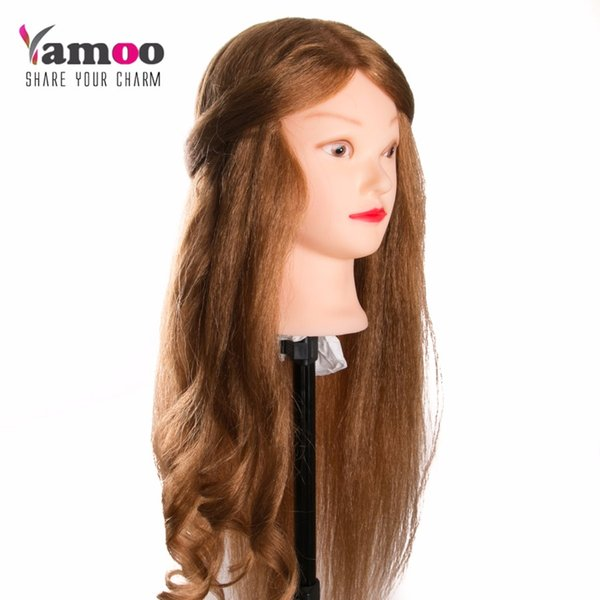 new Arrivals 90% Animal Hair Training Head For Salon blonde Hairdressing Mannequin Dolls professional styling head can be curl