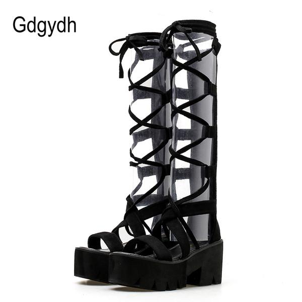 Gdgydh 2018 Moda Süet Orta Buzağı Kadın Çizmeler Bağcık Yüksek Topuklar Platformu Ayakkabı Açık Ayak Kadın Yaz Patik Ayakkabı Promosyon