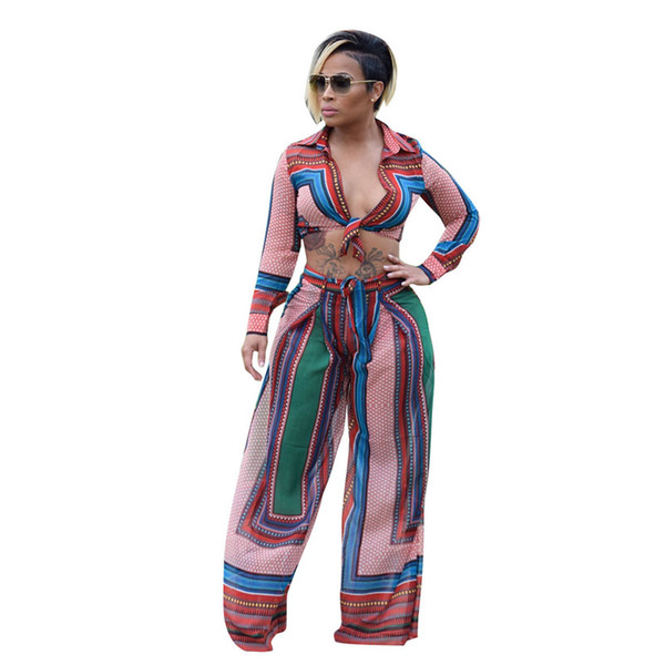 Autumn 2018 Elegant Jumpsuit Long Sleeve Bow Sashes Casual Loose Wide Leg Jumpsuit Long Pants Overalls Women Two Piece Tracksuit