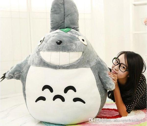 Wholesale-80cm 1Pcs Japan Anime Figure Giant Big Totoro Stuffed Plush Toys Doll Filled with PP Cotton Cute Design