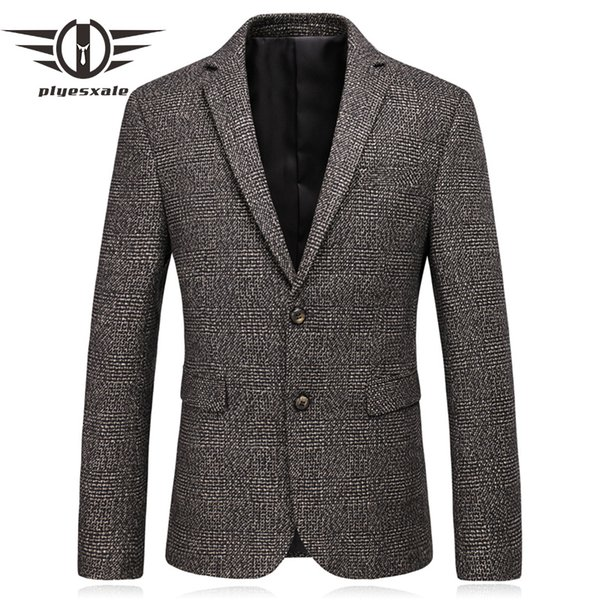 Plyesxale Slim Fit Mens Wool Blazer 2018 Autumn High Quality Elbow Patch  Blazer Men Vintage Business Casual Suit Jacket Q193 Canada 2019 From  Southi,