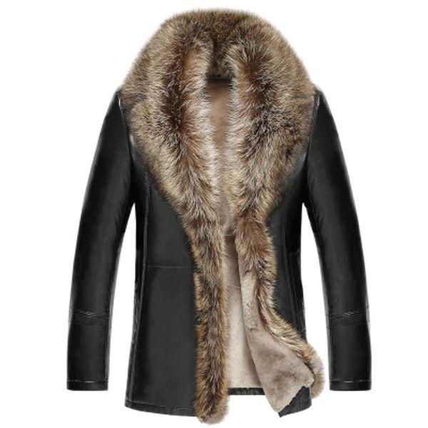Großhandel Herren Lammfell Mäntel Winter Lederjacken Echte Waschbären Pelzkragen Schnee Mantel Warme Dicke Outwear Hohe Qualität Große Größe 4XL Von