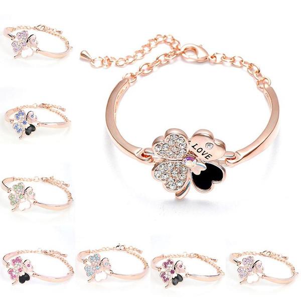 Cristal quatre feuilles trèfle bracelets bracelet manchette lettre amour charme diamant bijoux inspirants pour les femmes filles cadeau chanceux